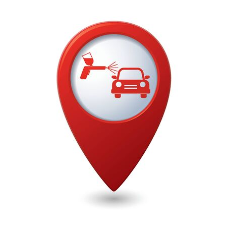 paint gun: Map pointer with car and paint sprayer icon. Vector illustration Illustration