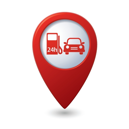 power point: Map pointer with gas station icon. Vector illustration