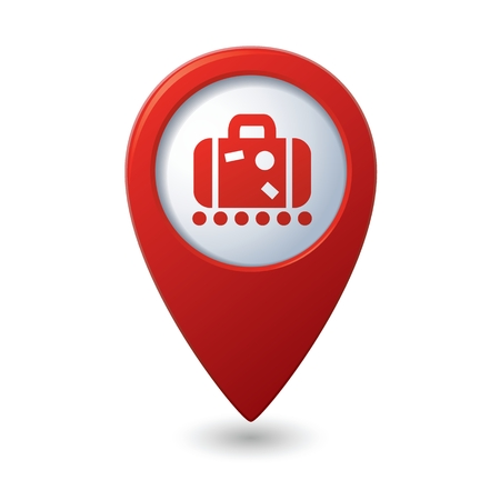 red  pointer: Red map pointer with suitcase icon.