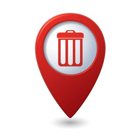 Map pointer with trash can icon. Vector illustration Vector