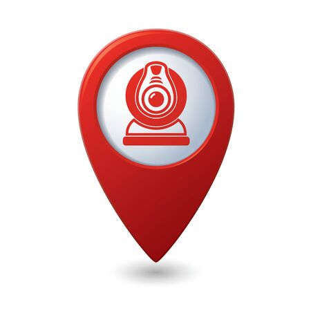 Map pointer with web camera icon. Vector illustration Vector