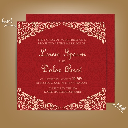 red cards: Red Vintage Wedding Invitation Card.