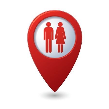 sex positions: Map pointer with man and woman icon. Vector illustration