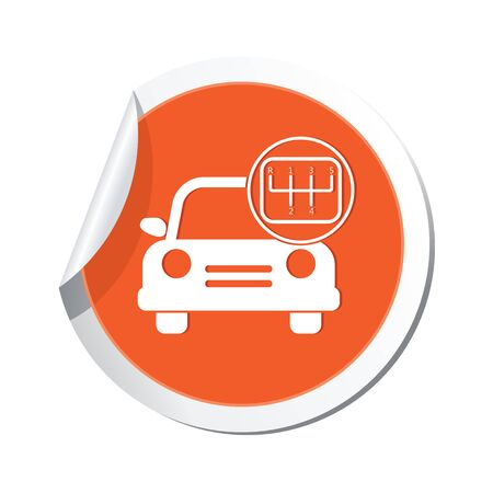 shift: Car service. Car with stick shift icon. Illustration