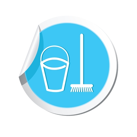 cleaning bucket: Bucket and mop for cleaning icon. Vector illustration