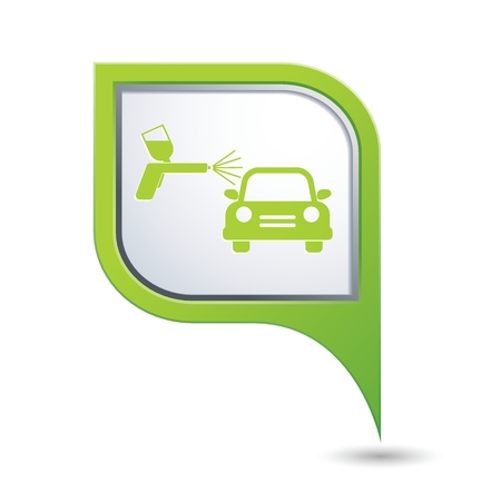 paint spray gun: Car and paint sprayer icon. Vector illustration