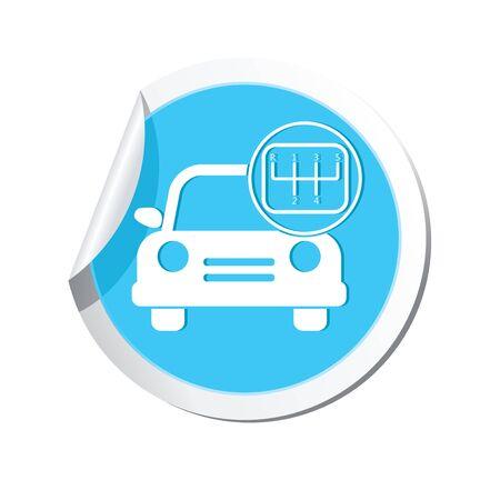 shift: Car service. Car with stick shift icon. Illustration