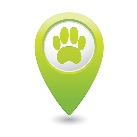 Green map pointer with pet paw icon. Vector
