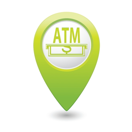 cashpoint: Green pointer with ATM cashpoint icon. Vector illustration