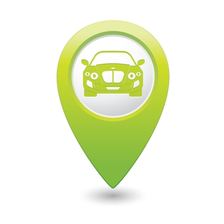 excursions: Green pointer with car icon. Vector illustration Illustration