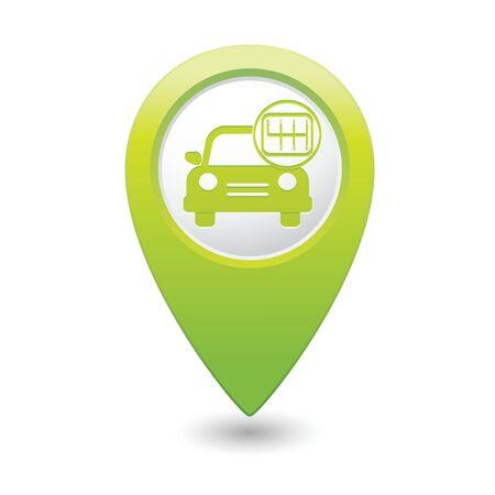 pointer stick: Servizio auto. Auto con turno di bastone sulla mappa pointer verde.