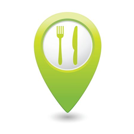 Green map pointer with restaurant icon. Vector illustration Vector