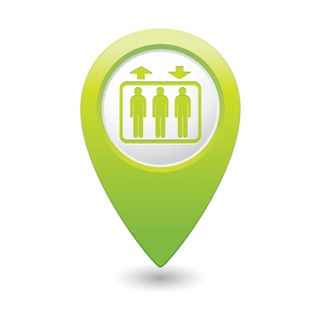 Green map pointer with elevator icon. Vector illustration