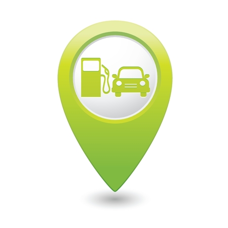 vectorrn: Green map pointer with gas station icon. Vector illustration Illustration