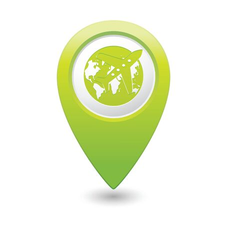 Map pointer with airplane and earth globe icon. Vector illustration Illustration