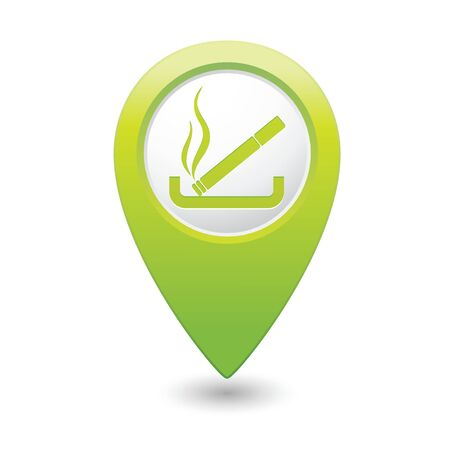 smoking place: Green map pointer with cigarette icon. Smoking sign.