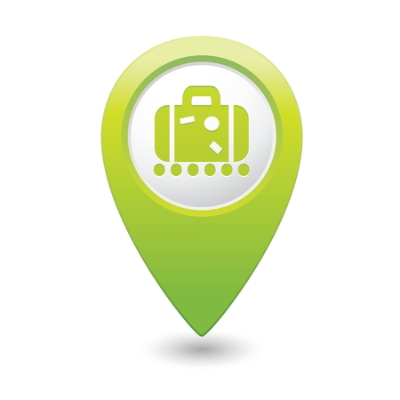 briefcase icon: Green map pointer with suitcase icon.