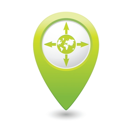 Green pointer with arrows and globe icon. Vector illustration