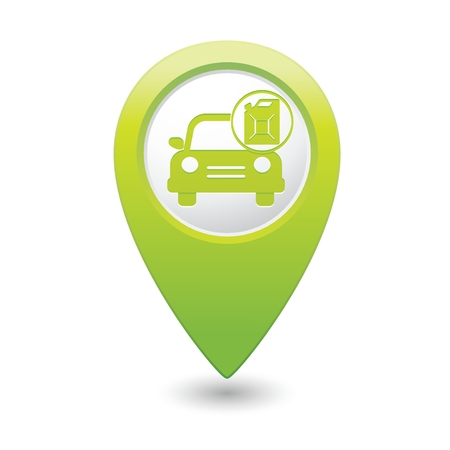 Green map pointer with gas station icon. Vector illustration Illustration