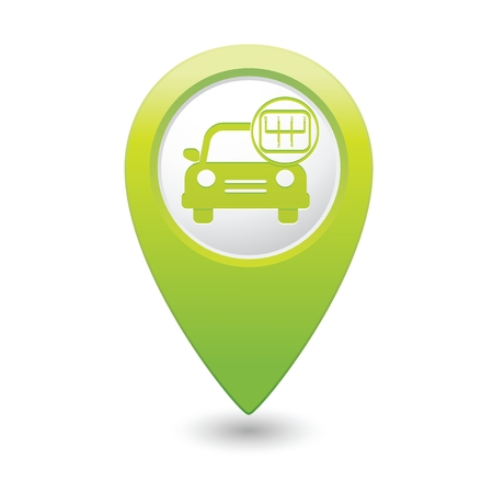 shift: Car service. Car with stick shift on green map pointer.