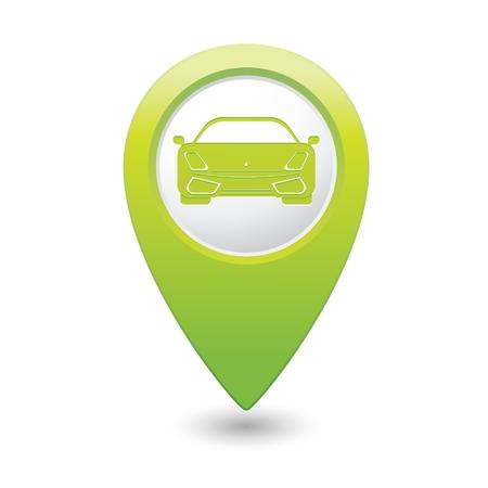 whitern: Green pointer with car icon. Vector illustration Illustration