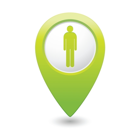 sex positions: Green map pointer with man icon. Vector illustration