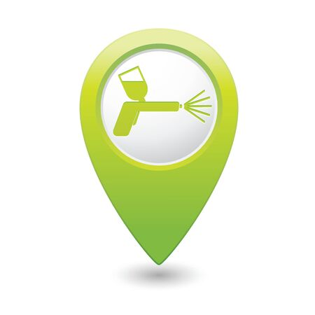paint spray gun: Green map pointer with spray gun icon. Vector illustration