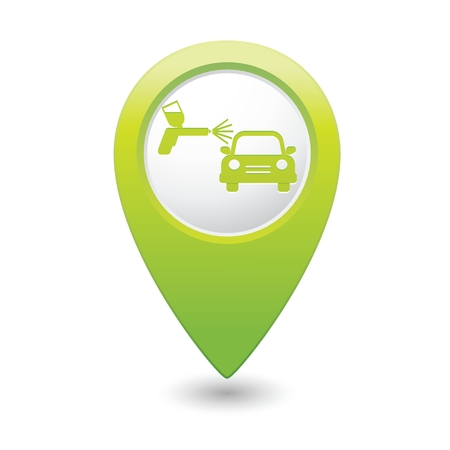 sprayer: Green map pointer car and paint sprayer icon. Vector illustration Illustration