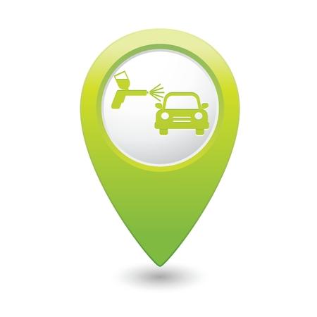 paint spray gun: Green map pointer car and paint sprayer icon. Vector illustration Illustration