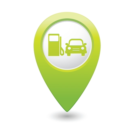 excursions: Green map pointer with gas station icon. Vector illustration Illustration