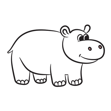 Outlined hippo vector illustration. Isolated on white. Vector