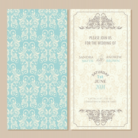 Wedding vintage invitation card or announcement with beautiful floral elements.