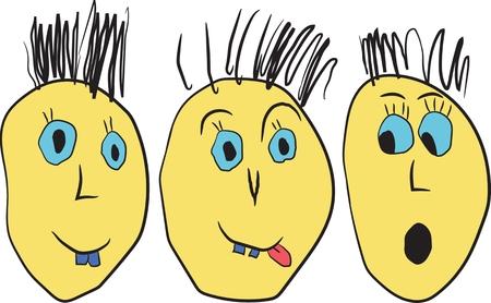 provocative: Cartoon  funny faces Illustration