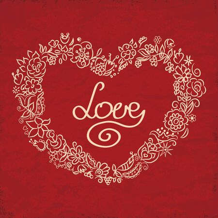 Love card with hand drawn floral heart. Valentines Day greeting, the background.