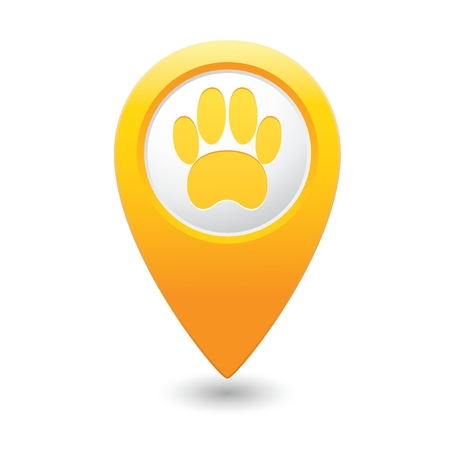 Yellow map pointer with pet paw icon.