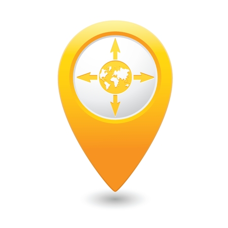 excursions: Yellow pointer with arrows and globe icon. Vector illustration