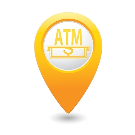 cash dispenser: Yellow pointer with ATM cash point icon.