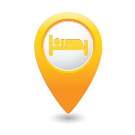 Gele kaart aanwijzer met hotel icoon. Stock Illustratie
