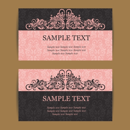Floral vintage business cards, invitations or announcements.