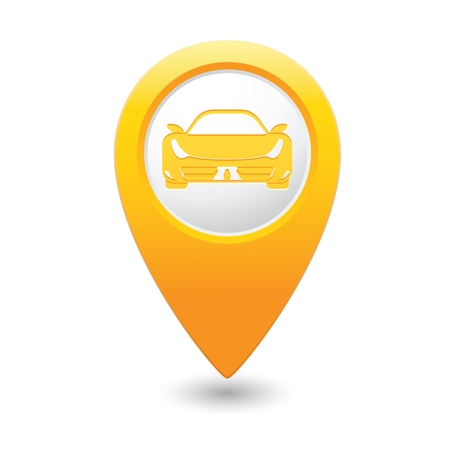 excursions: Yellow pointer with car icon. Vector illustration