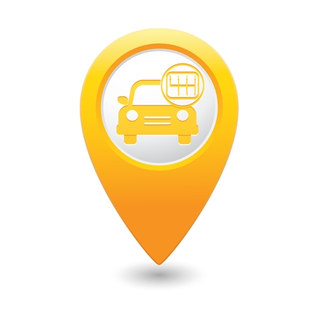 Car service. Car with stick shift on yellow map pointer. Vector