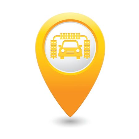 Car wash icon on yellow map pointer.  Vector