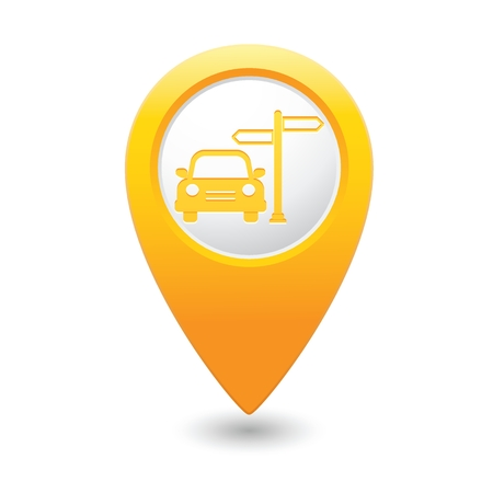 map pointer: Yellow map pointer with car and road sign icon.