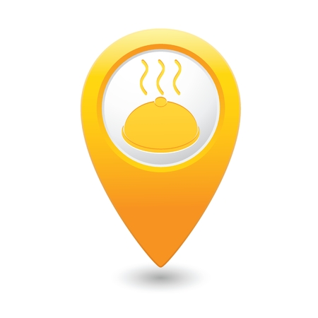 yellowrn: Yellow map pointer with restaurant icon.  Illustration