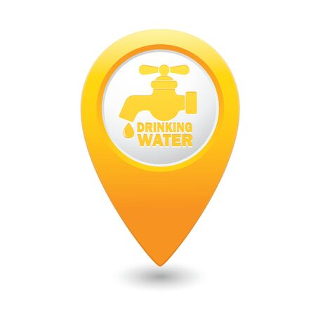 yellowrn: Map pointer with water tap icon.