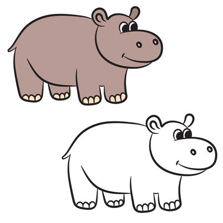Cartoon hippo.  Vector