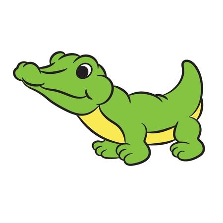 timid: Cartoon crocodile.