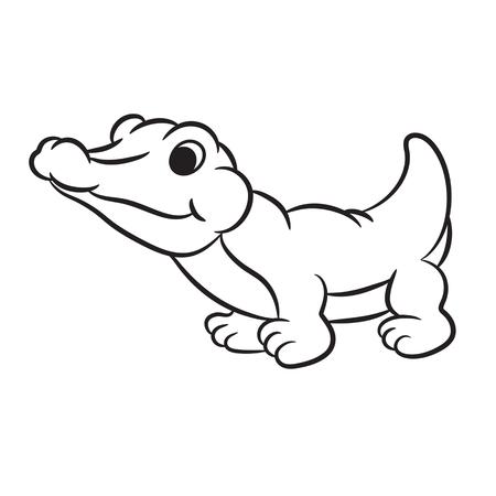 timid: Outlined crocodile illustration.
