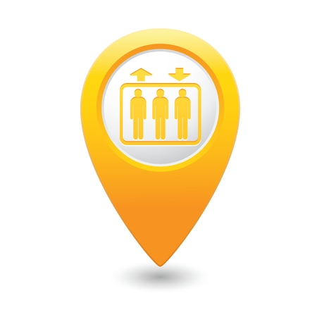 yellowrn: Yellow map pointer with elevator icon.