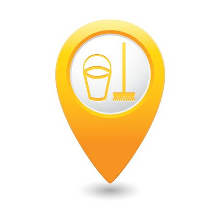cleanness: Yellow map pointer with bucket and mop for cleaning icon. Vector illustration isolated on white background